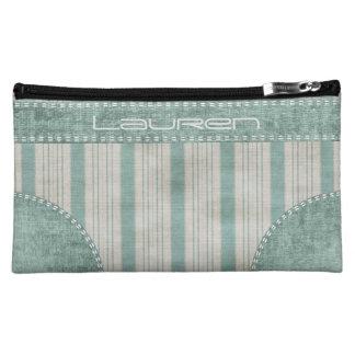 Personalize Geometric Aqua & White Linen Stripes Makeup Bag