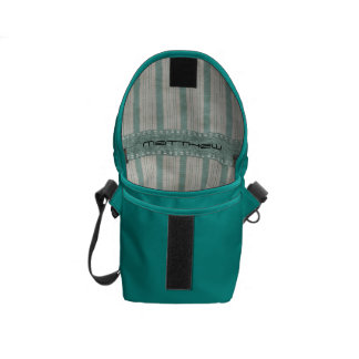 Personalize Geometric Aqua & White Linen Stripes Messenger Bag