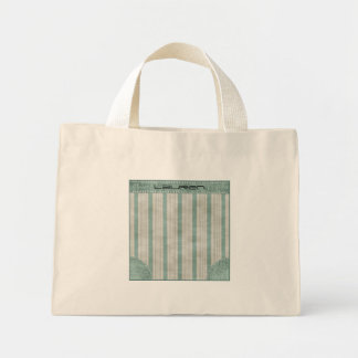 Personalize Geometric Aqua & White Linen Stripes Mini Tote Bag