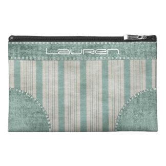 Personalize Geometric Aqua & White Linen Stripes Travel Accessories Bags