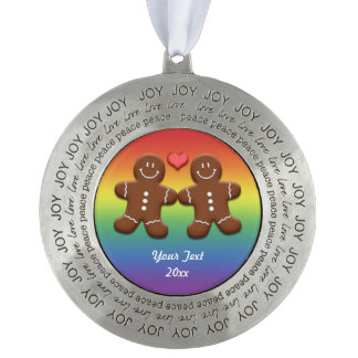 Personalize Gingerbread Men Couple Pewter Ornament
