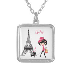 Personalize Girl And Cat Paris Necklace at Zazzle