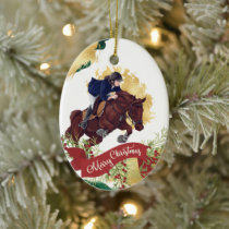 Personalize Girl and Horse Jumping Christmas Ceramic Ornament
