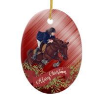 Personalize Girl and Horse Jumping Red Christmas Ceramic Ornament