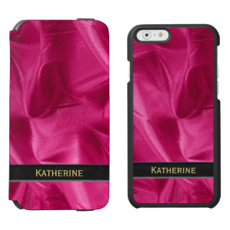 Personalize: Girly Faux Fuchsia Lame' Metallic iPhone 6/6s Wallet Case