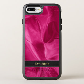 Personalize: Girly Faux Fuchsia Lame' Metallic OtterBox Symmetry iPhone 7 Plus Case