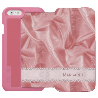 Personalize: Girly Faux Pink Lame' Metallic Fabric iPhone 6/6s Wallet Case