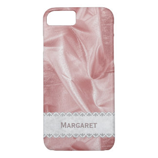 Personalize: Girly Faux Pink Lame' Metallic Fabric iPhone 8/7 Case