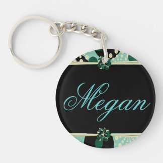 Personalize Girly Flowers and Polka dots Single-Sided Round Acrylic Keychain