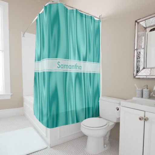 Personalize Girly Pastel Aqua Faux Satin Fabric Shower
