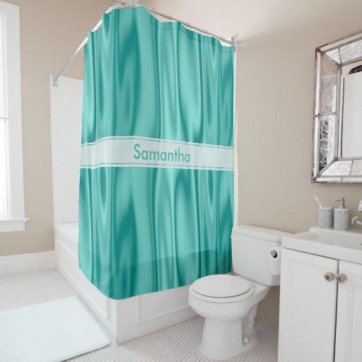 Personalize Girly Pastel Aqua Faux Satin Fabric Shower