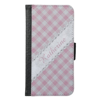 Personalize:  Girly Pink Gingham Check Pattern Samsung Galaxy S6 Wallet Case