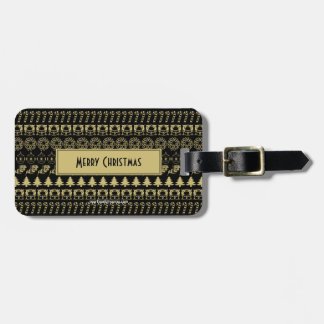 Personalize: Gold and Black Christmas Pattern Luggage Tag