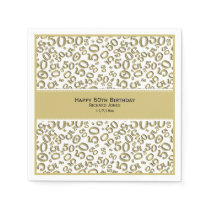 Personalize:  Gold and White 50th Birthday Theme Paper Napkin