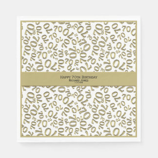 Personalize:  Gold and White 70th Birthday Theme Napkin