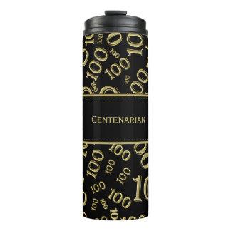 Personalize: Gold/Black Number 100 Random Pattern Thermal Tumbler