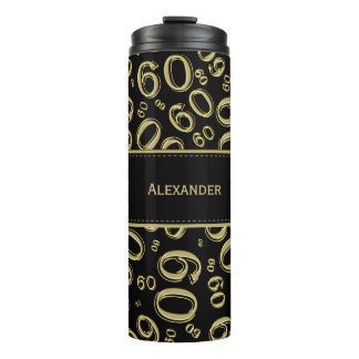 Personalize: Gold/Black Number 60 Random Pattern Thermal Tumbler