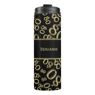 Personalize: Gold/Black Number 80 Random Pattern Thermal Tumbler