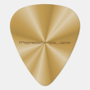 Personalize Gold Metallic Print Guitar Pick by DesignsbyDonnaSiggy at Zazzle
