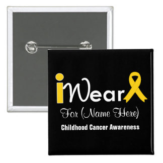 Personalize gold Ribbon Childhood Cancer 2 Inch Square Button