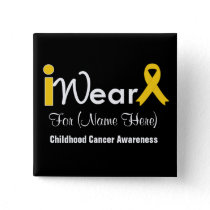 Personalize gold Ribbon Childhood Cancer Pinback Button