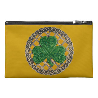 Personalize Gold Shamrock Travel Accessory Bag