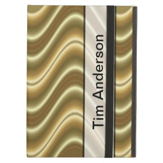 Personalize Gold Wave Design Cover For iPad Air