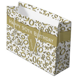 Personalize:  Gold/White 90th Birthday Theme Large Gift Bag