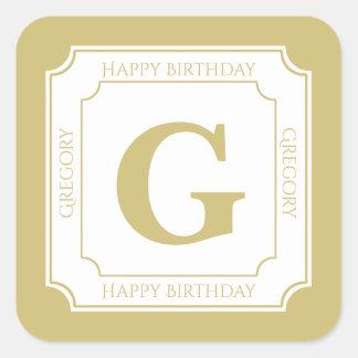 Personalize: Gold/White Bold Initials Birthday Square Sticker