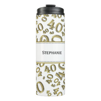 Personalize: Gold/White Number 40 Random Pattern Thermal Tumbler