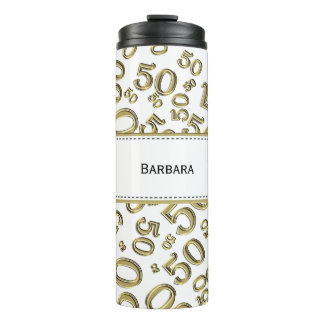 Personalize: Gold/White Number 50 Random Pattern Thermal Tumbler