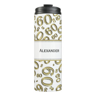 Personalize: Gold/White Number 60 Random Pattern Thermal Tumbler