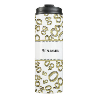 Personalize: Gold/White Number 80 Random Pattern Thermal Tumbler