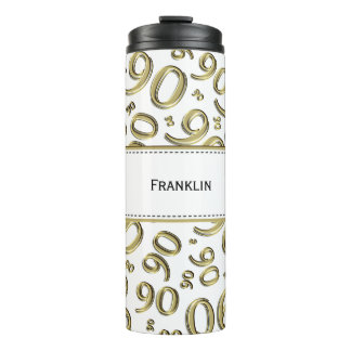 Personalize: Gold/White Number 90 Random Pattern Thermal Tumbler