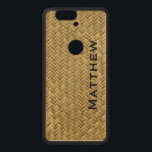 """Personalize:  GoldenFaux Basket Weave Pattern Wood Nexus 6P Case<br><div class=""""desc"""">Dress up,  protect and personalize your electronics with a modern,  geometric updated case.  This textured pattern is digital art that looks like a golden colored basket weave.  There is a name printed vertically which you can easily change with the text template provided.</div>"""