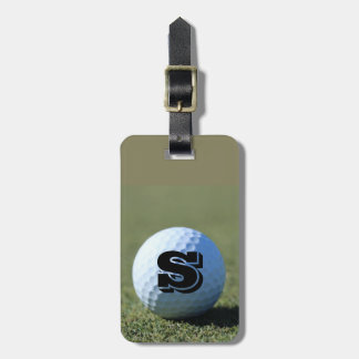 Personalize Golf Ball on Green with Monogram Luggage Tag