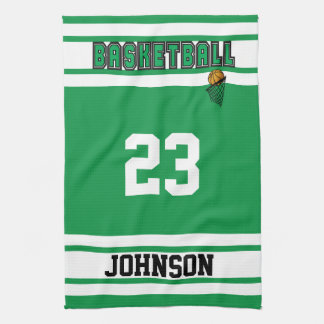 Personalize Green and White Basketball Hand Towel