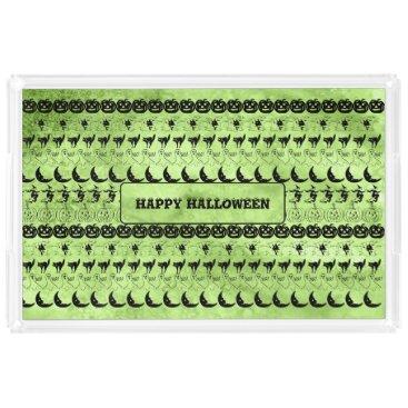 Halloween Themed Personalize: Green Halloween Fun Font Art Pattern Acrylic Tray