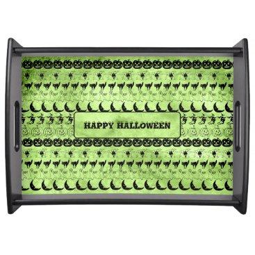 Halloween Themed Personalize: Green Halloween Fun Font Art Pattern Serving Tray