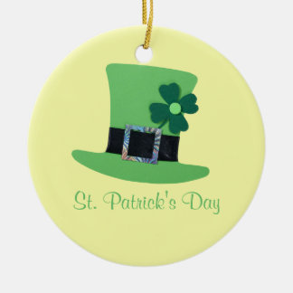 Personalize Green hat, clover for St.Patrick's day Ceramic Ornament