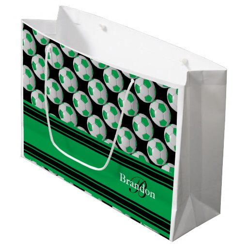 Personalize Green Soccer Balls Large Gift Bag