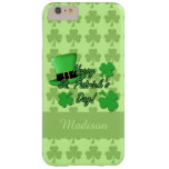 Personalize Green top hat Shamrocks St. Patricks Barely There iPhone 6 Plus Case