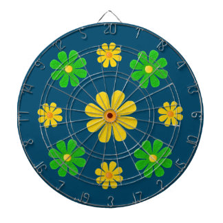Personalize, green yellow flowers on dark blue dartboard with darts