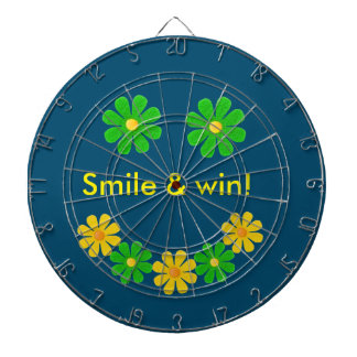 Personalize, green yellow smille flowers dartboard with darts