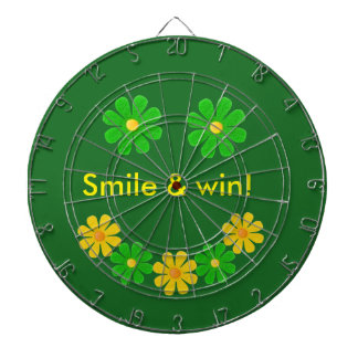 Personalize, green yellow smille flowers on green dart boards