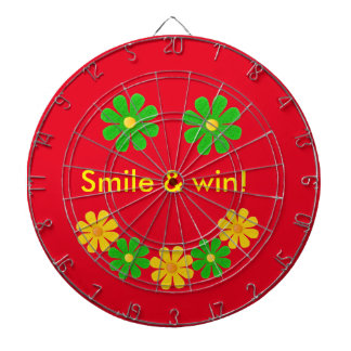 Personalize, green yellow smille flowers on red dartboard