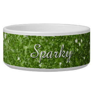 Personalize Greenery Green glitter sparkles Bowl