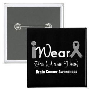 Personalize Grey Ribbon Brain Cancer 2 Inch Square Button