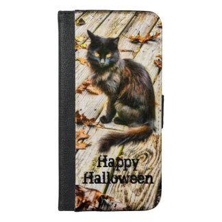 Personalize: Halloween Black Cat Photograph iPhone 6/6s Plus Wallet Case