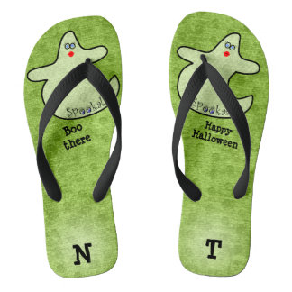 Personalize: Halloween Diva Ghost on Lime Green Flip Flops